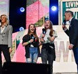 Ornella Barra appearing at WE Day UK, held at the SSE Arena in Wembley, London, with Nathan Clements, HR Director, Boots UK